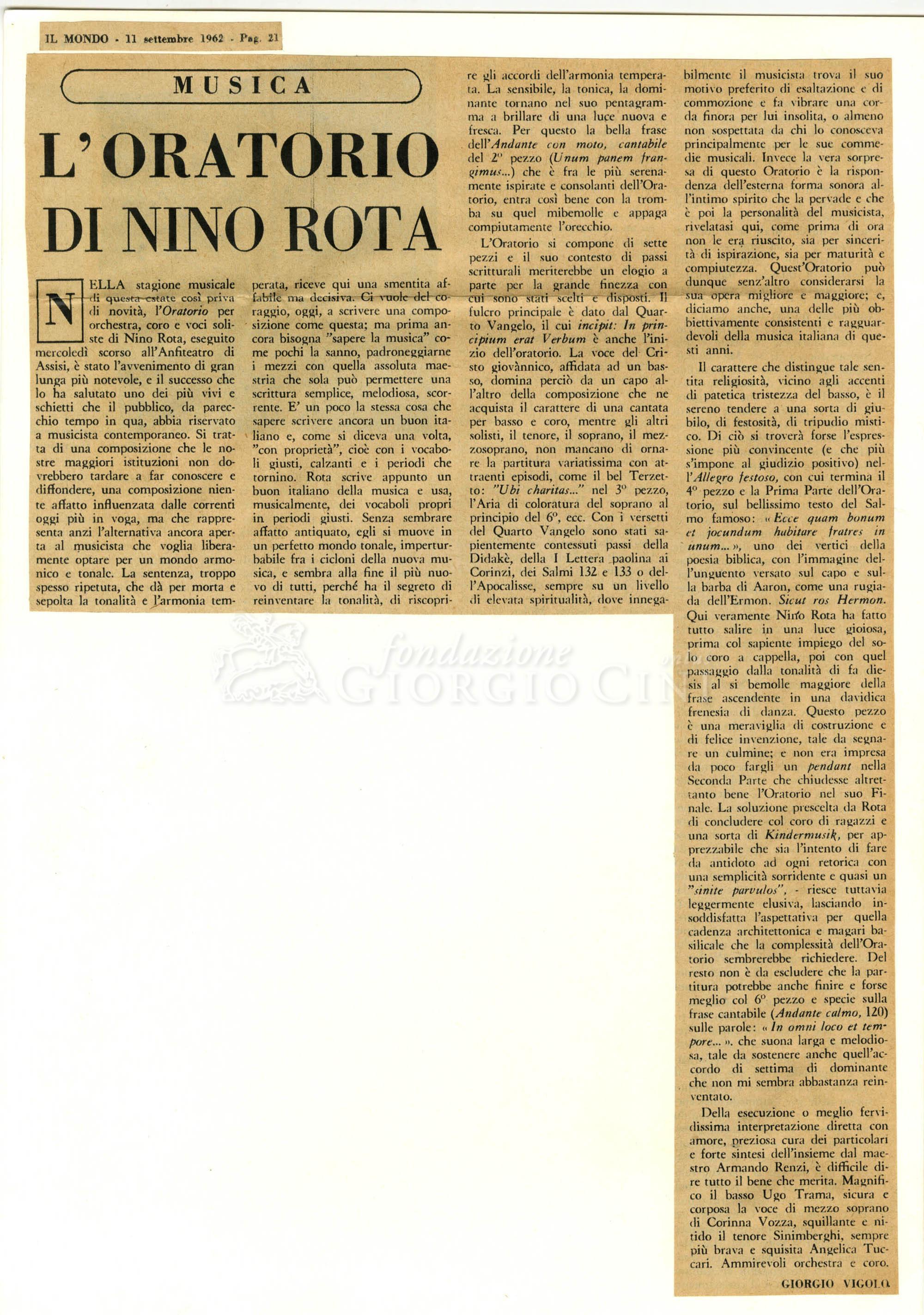 L'oratorio di Nino Rota  11 settembre 1962