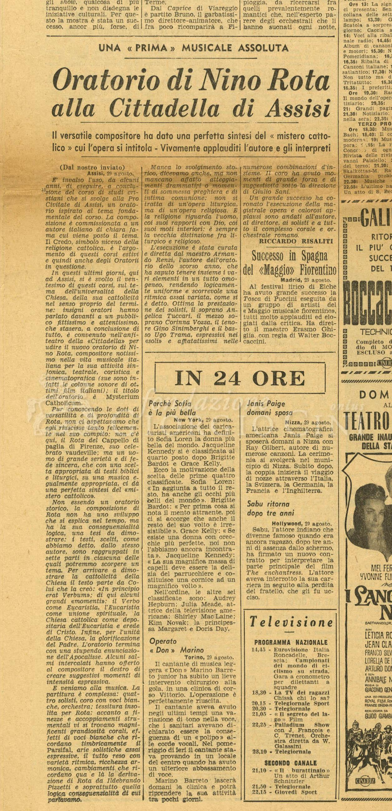 Oratorio di Nino Rota alla Cittadella di Assisi  30 agosto 1962