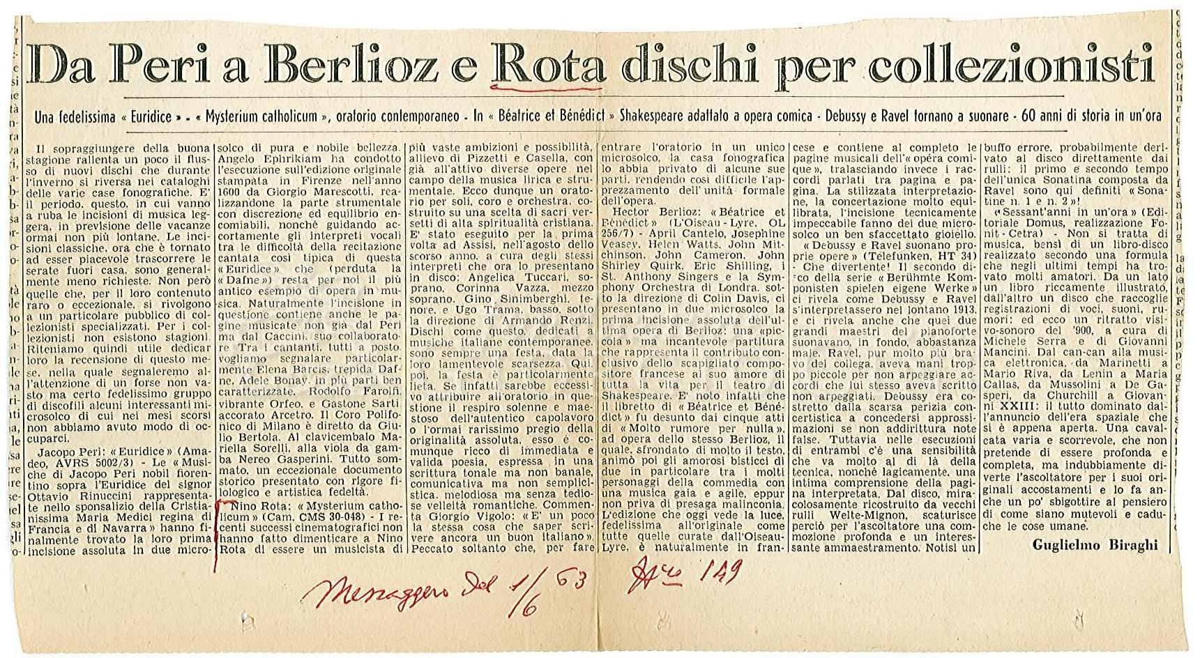Da Peri a Berlioz e Rota dischi per collezionisti  19 gennaio 1963