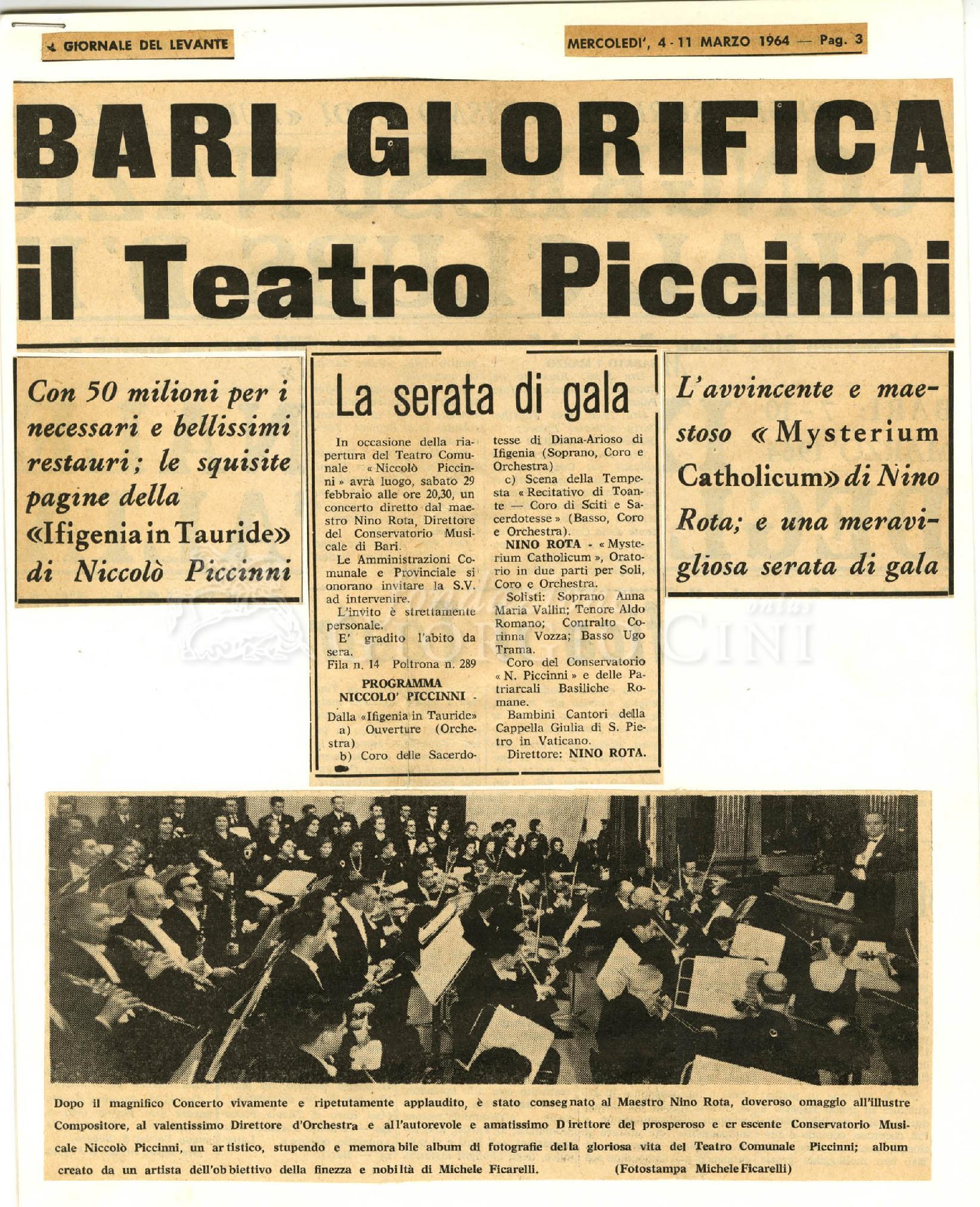 Bari glorifica il Teatro Piccinni  04 marzo 1964 - 11 marzo 1964