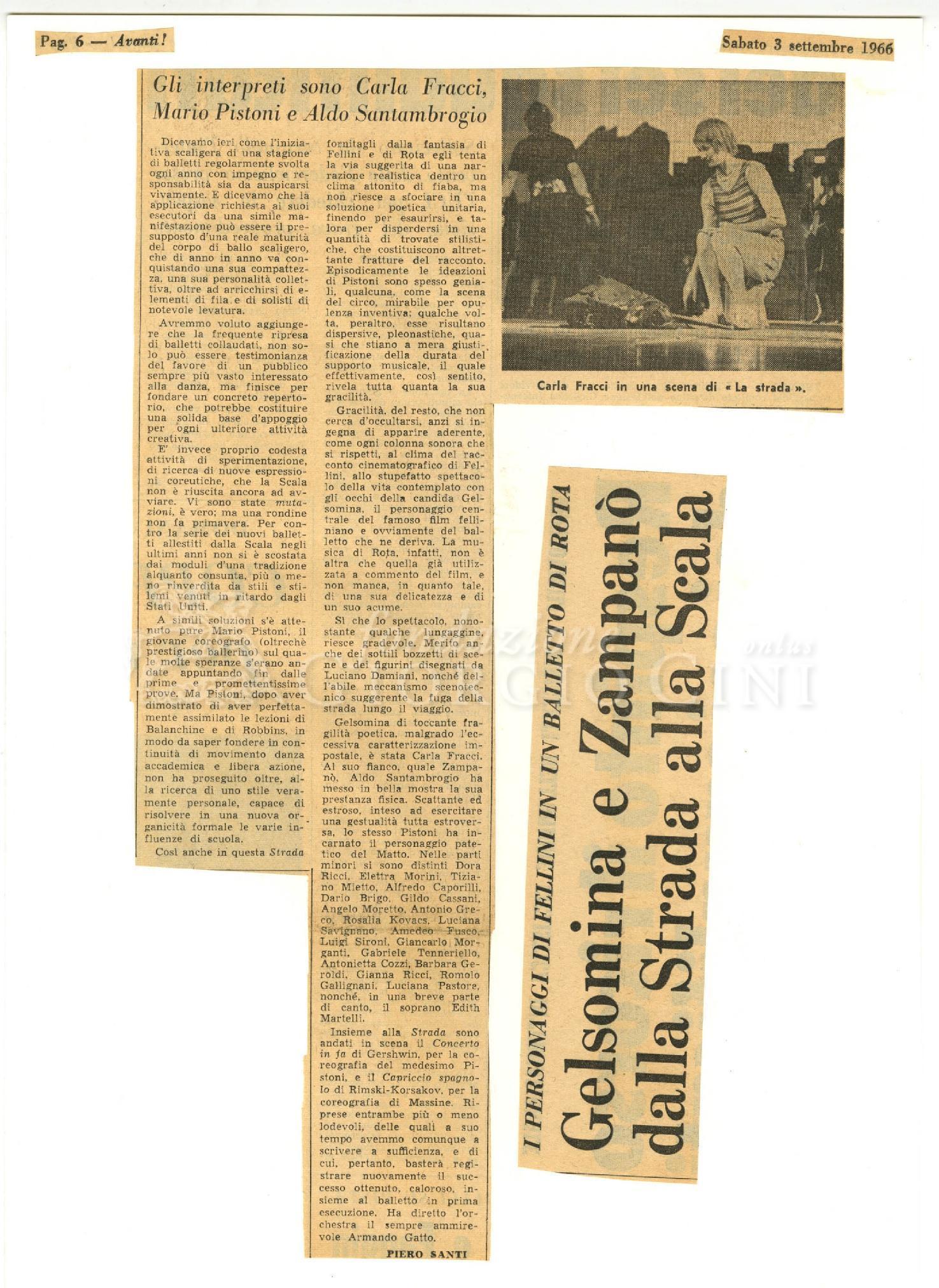 Gelsomina e Zampanò dalla Strada alla Scala  03 settembre 1966