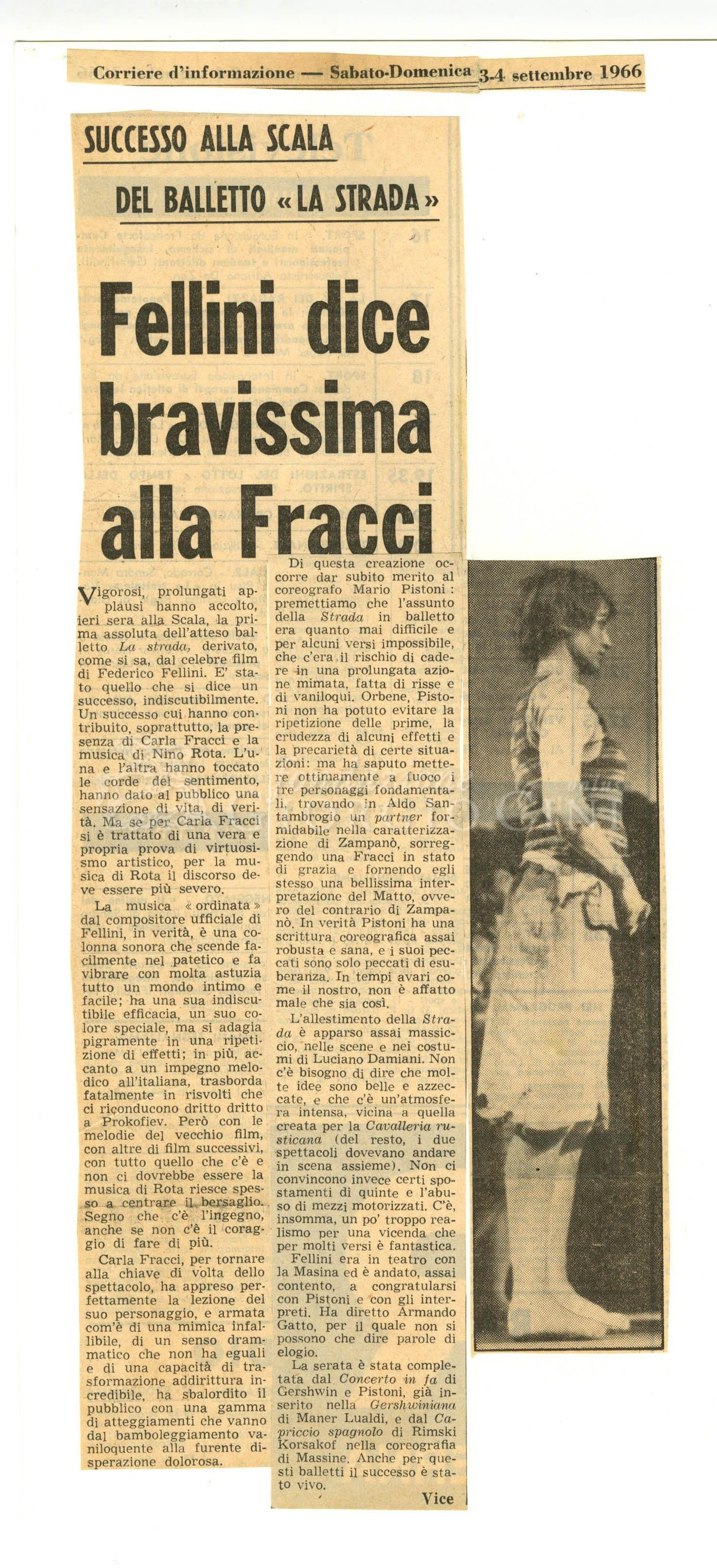 Fellini dice bravissima alla Fracci  03 - 04 settembre 1966