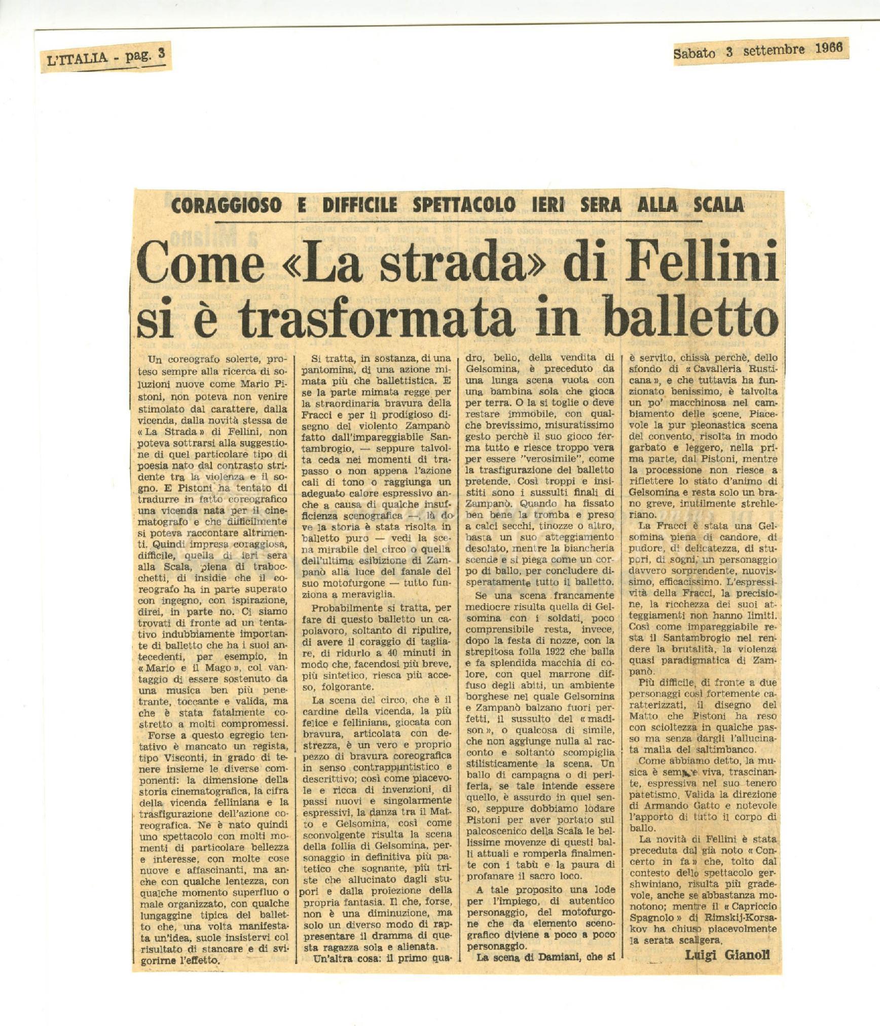 Come 'La strada' di Fellini si è trasformata in balletto  03 settembre 1966