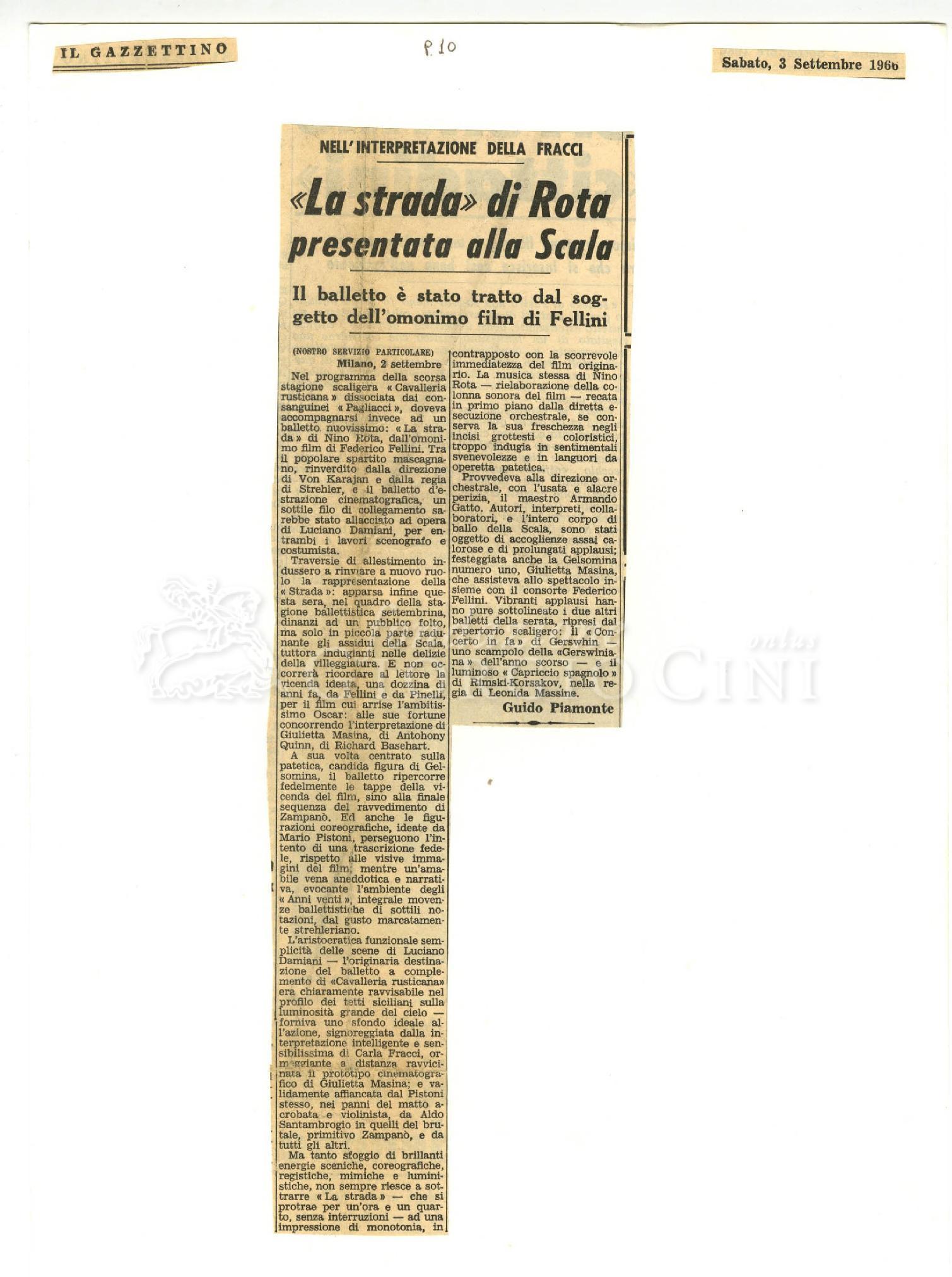 'La strada' di Rota presentata alla Scala  : Il balletto è stato tratto dall'omonimo film di Fellini 03 settembre 1966