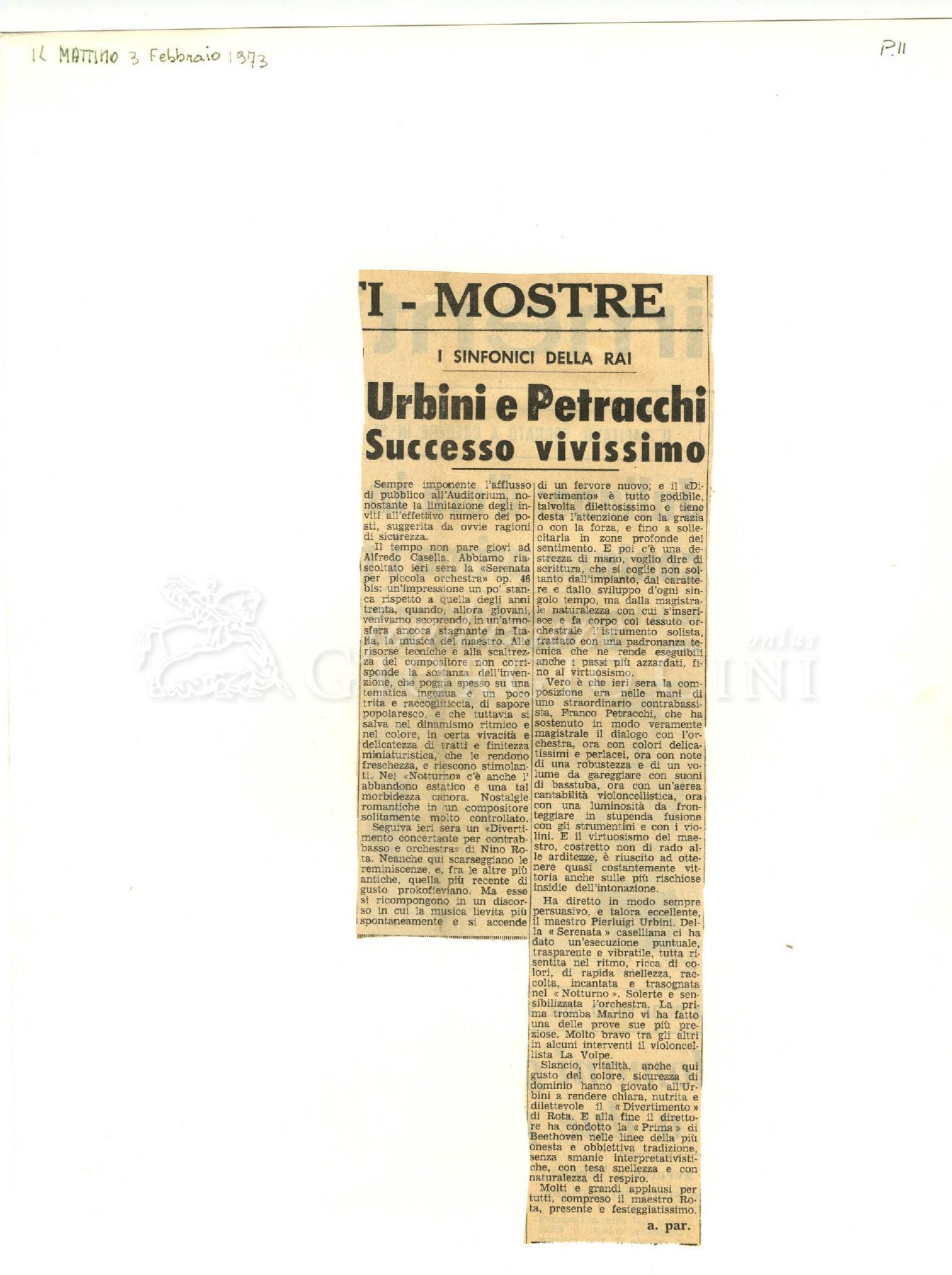 Urbini e Petracchi. Successo vivissimo  03 febbraio 1973