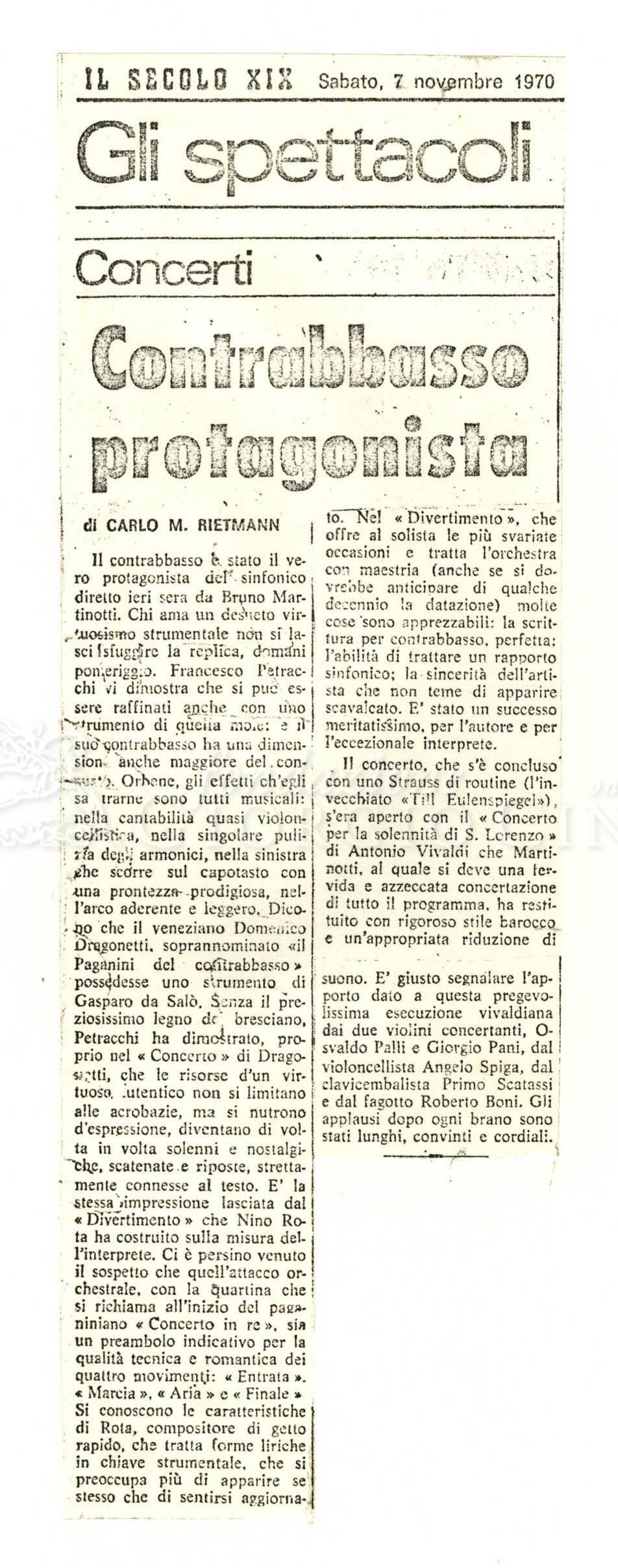 Contrabbasso protagonista  07 novembre 1970
