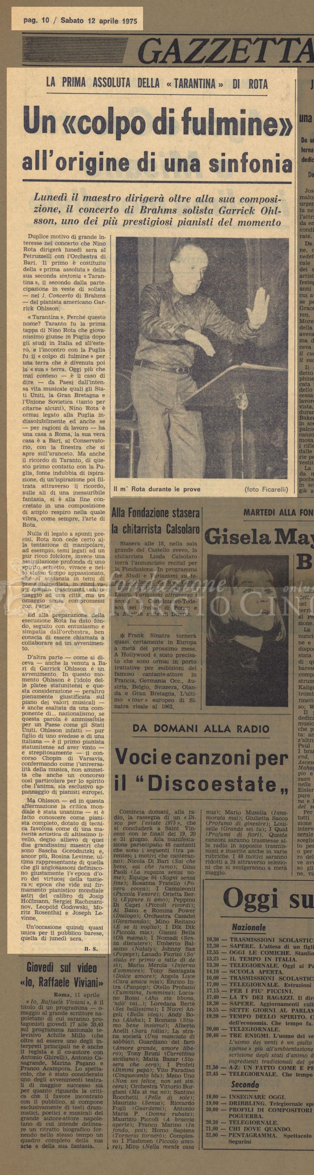 Un 'colpo di fulmine' all'origine di una sinfonia  12 aprile 1975
