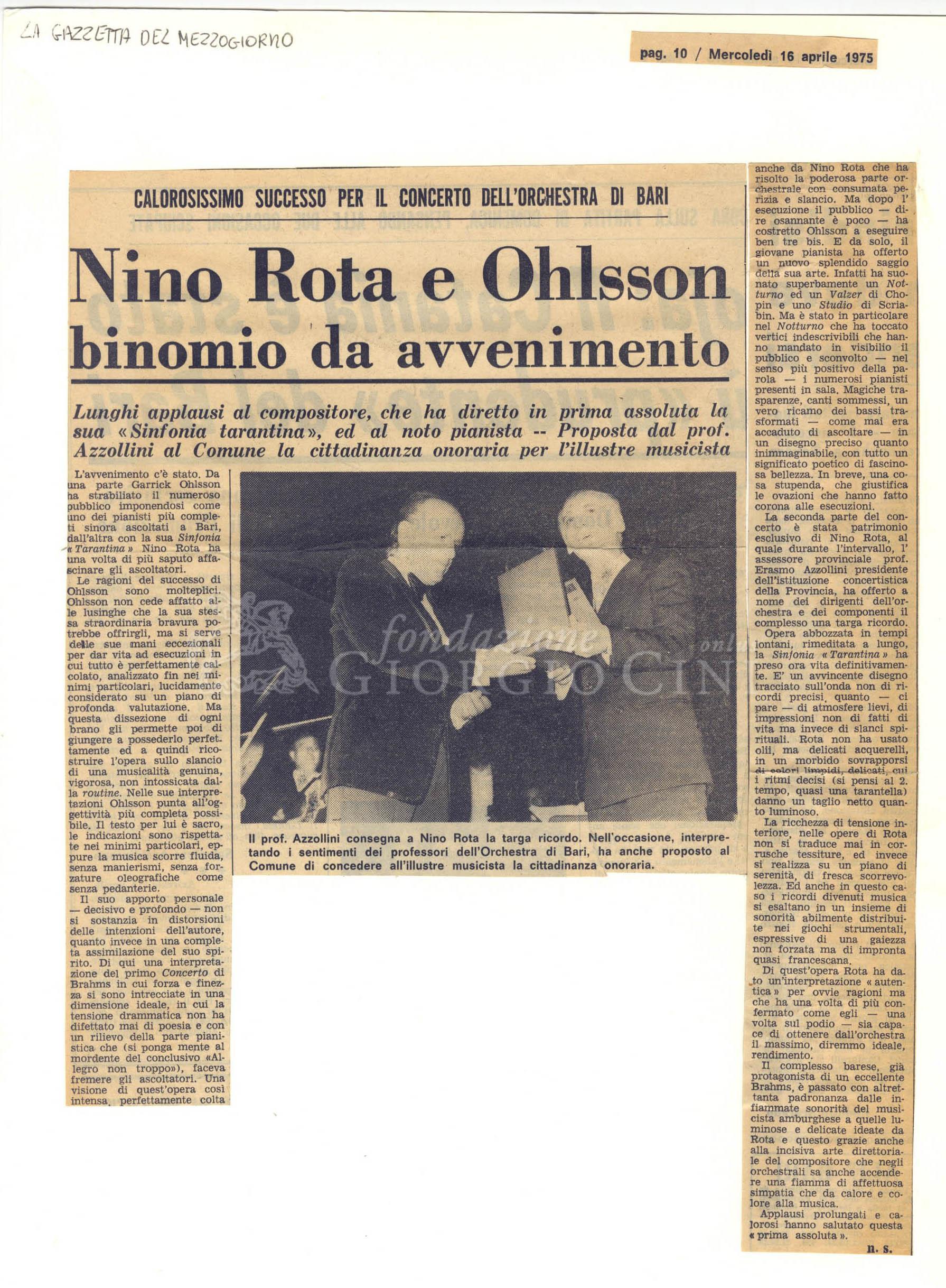 Nino Rota e Ohlsson binomio da avvenimento  16 aprile 1975