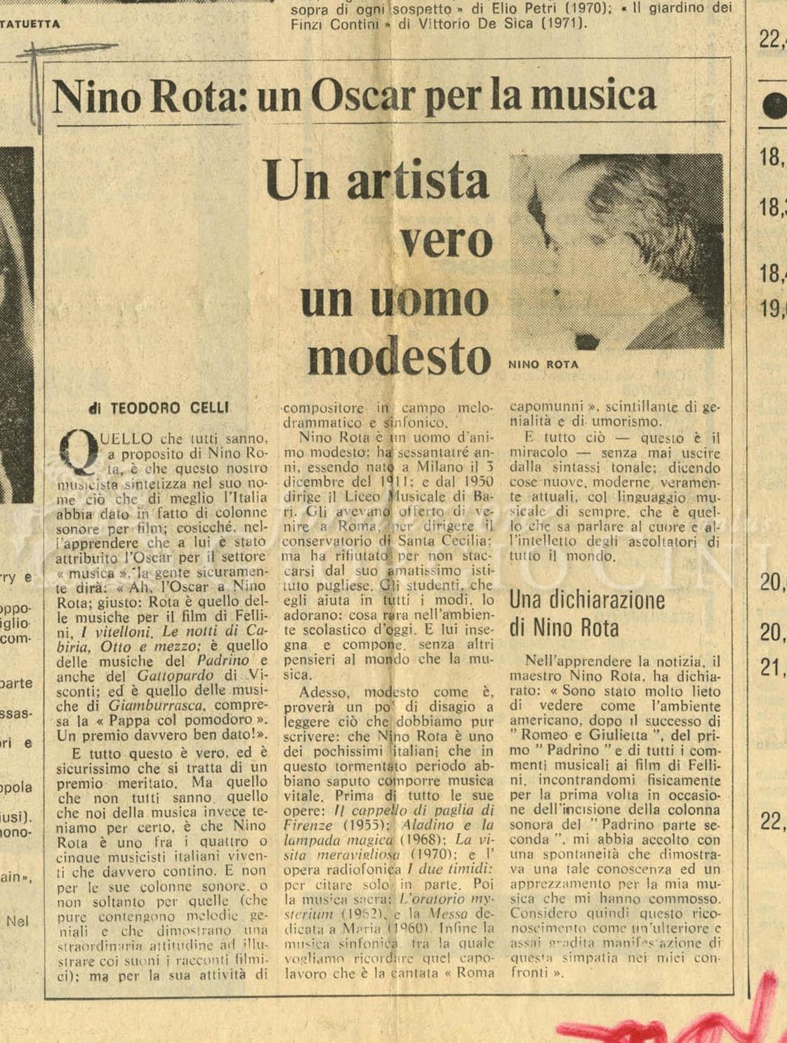 Nino Rota: un Oscar per la musica  10 aprile 1975