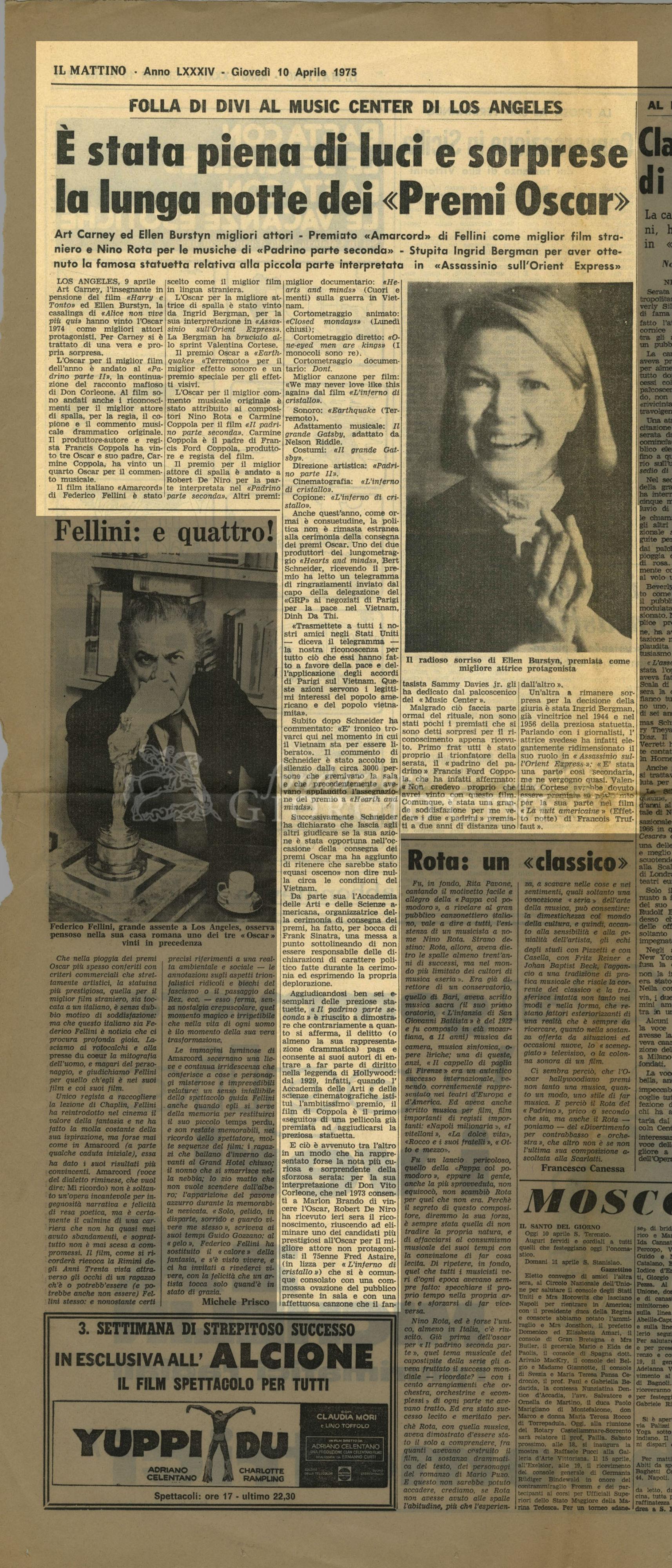 E' stata piena di luci e sorprese la lunga notte dei 'Premi Oscar'  10 aprile 1975