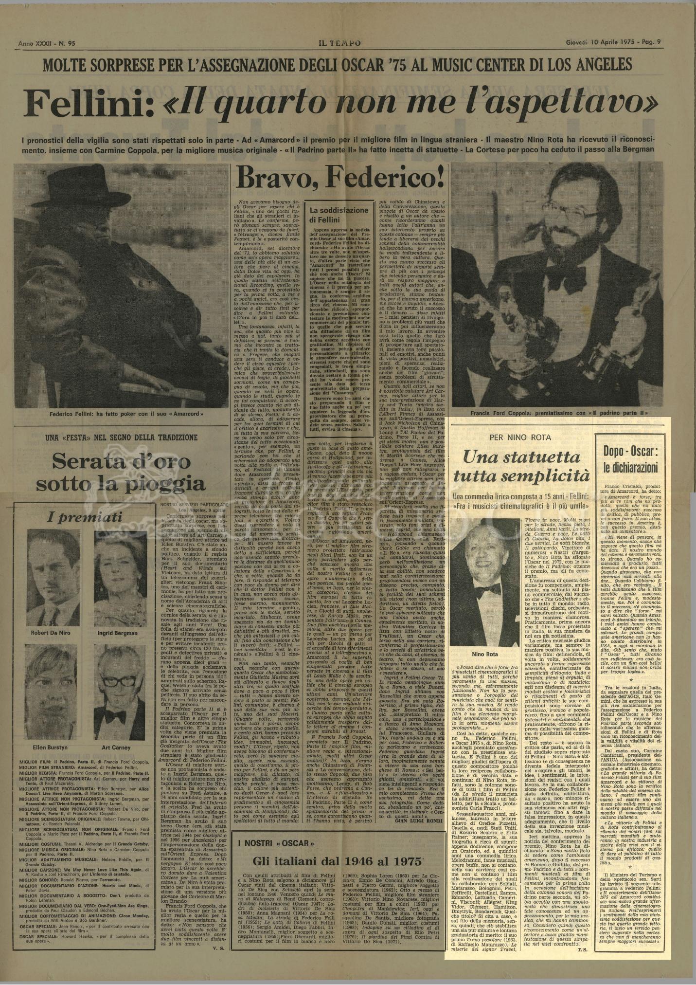 Per Nino Rota una statuetta tutta semplicità  10 aprile 1975