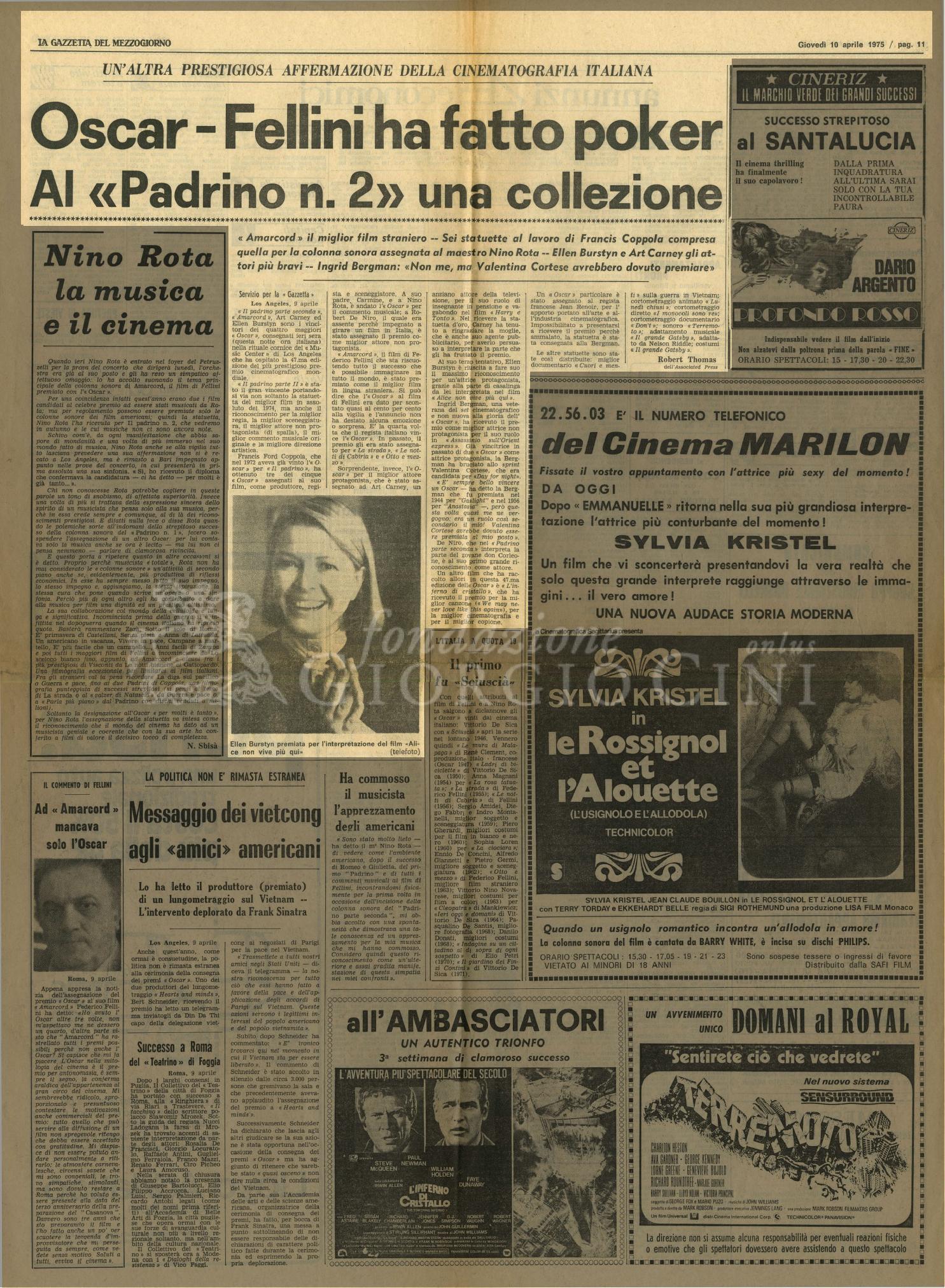 Un'altra prestigiosa affermazione della cinematografia italiana  : Oscar - Fellini ha fatto poker Al