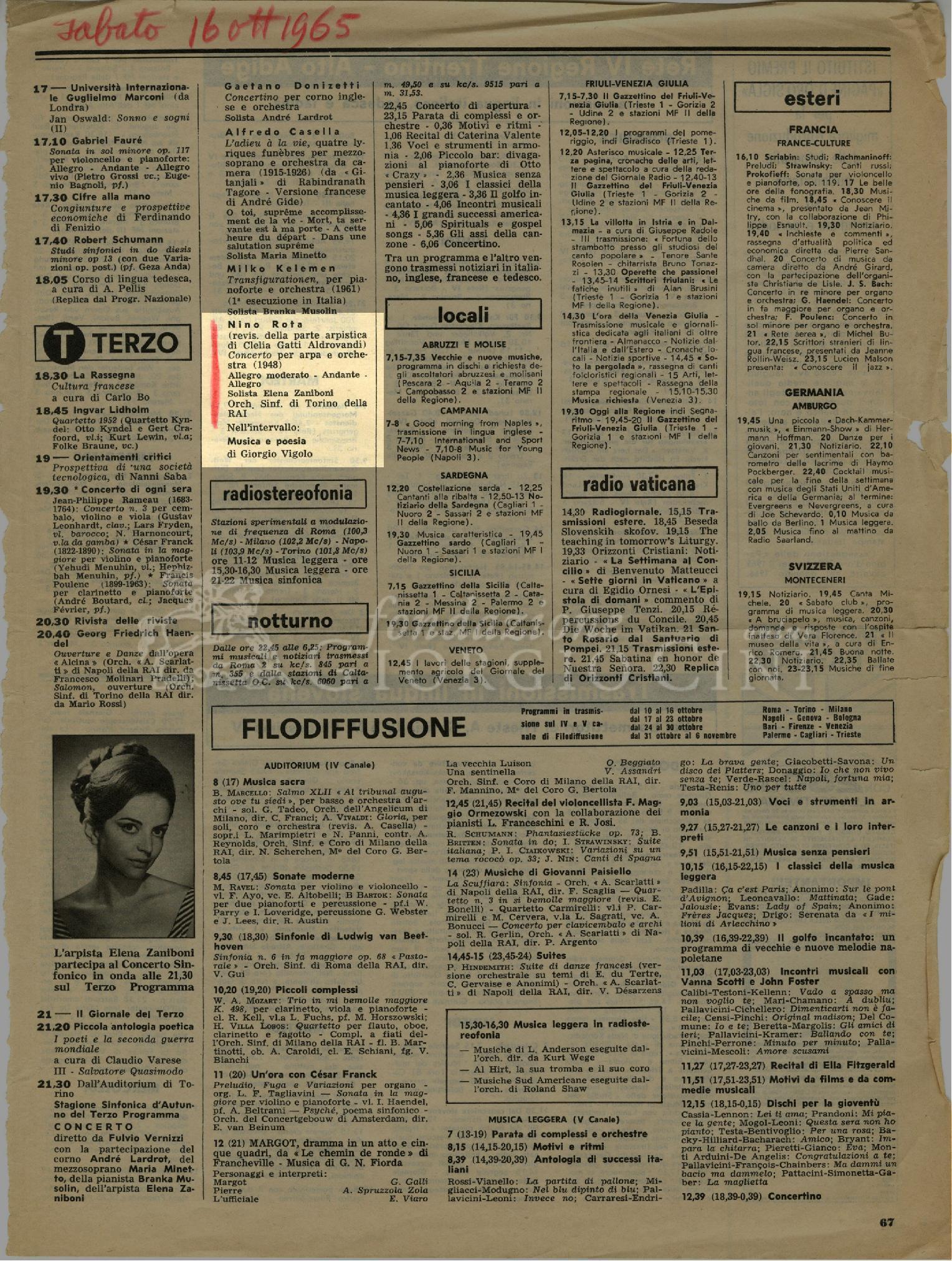 Nino Rota (revis. della parte arpistica di Clelia Gatti Aldovrandi) [...] [16 ottobre 1965]