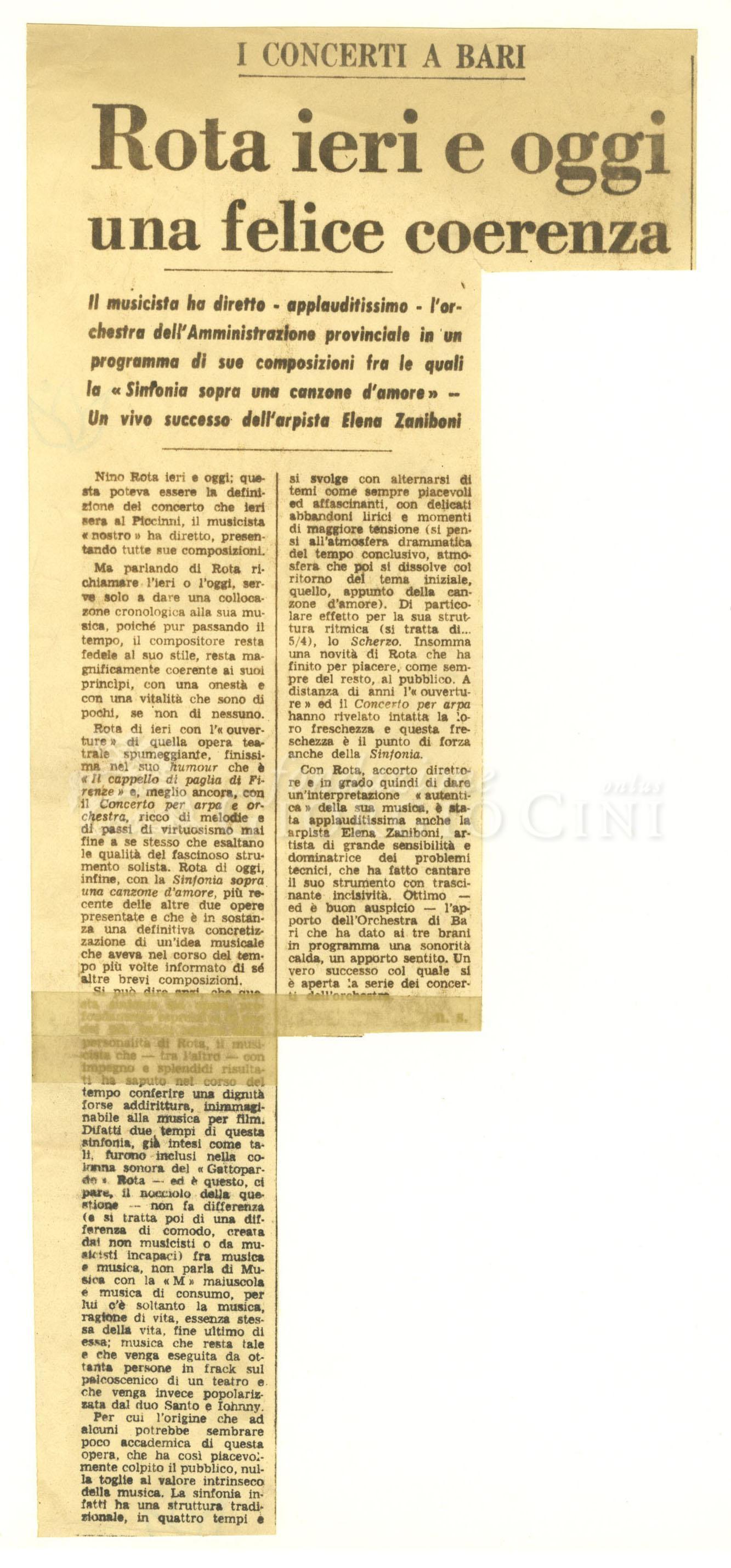 Rota ieri e oggi una felice coerenza  11 dicembre 1972