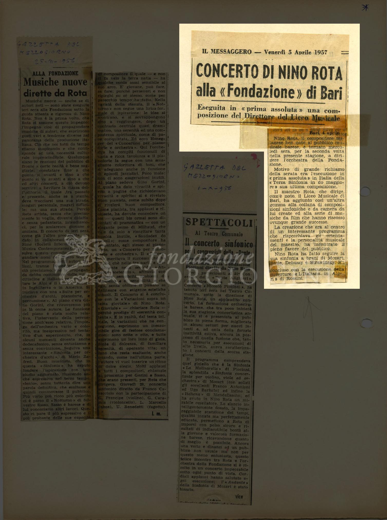 Concerto di Nino Rota alla 'Fondazione' di Bari  05 aprile 1957