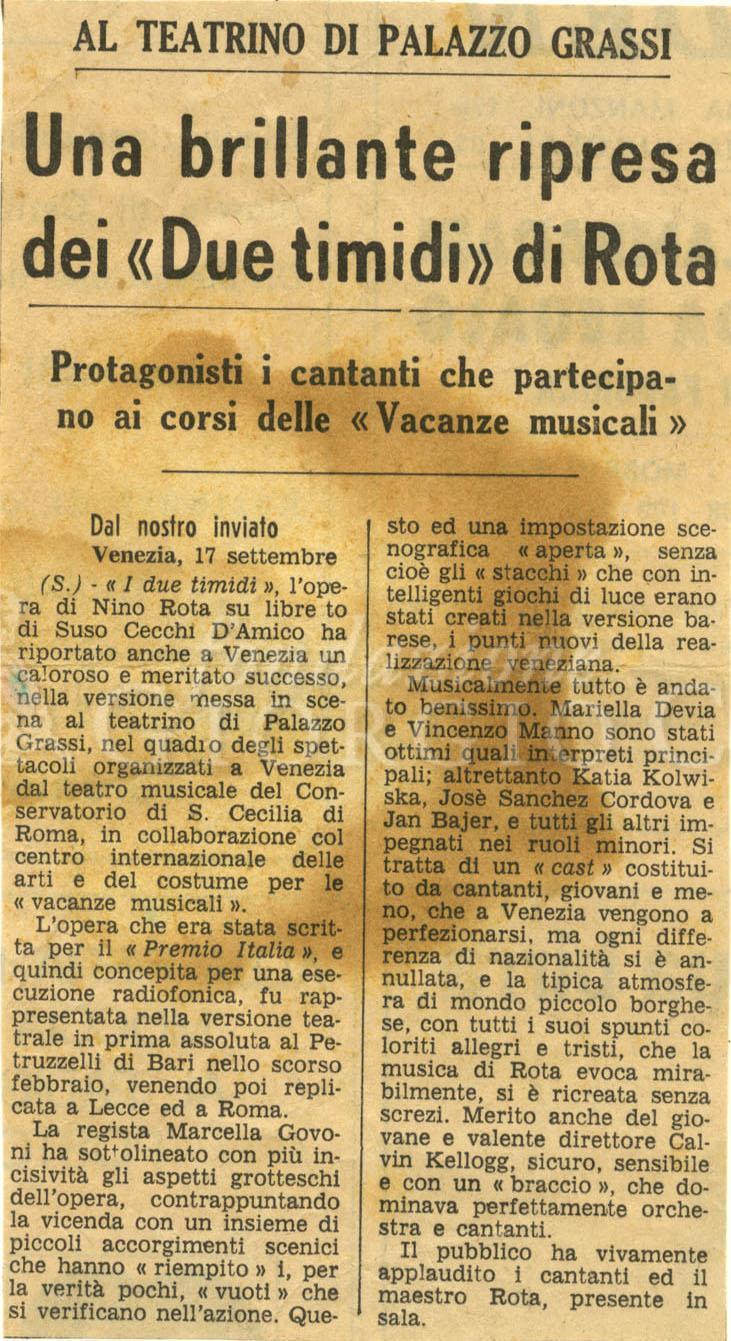 Al teatrino di Palazzo Grassi. Una brillante ripresa dei 'Due Timidi' di Rota.  : Protagonisti i cantanti che partecipano ai corsi delle 'Vacanze musicali' s.d.