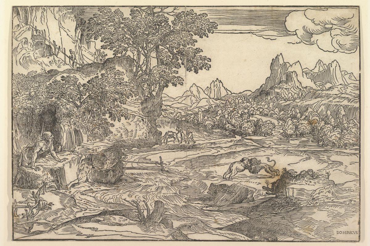 Paesaggio con San Girolamo e due leoni