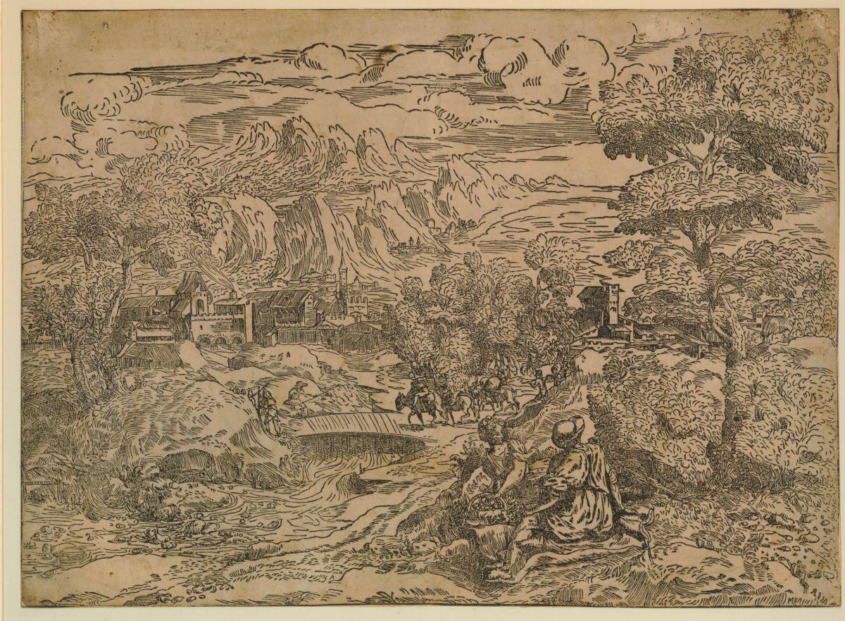 Paesaggio con un ponticello, una figura di spalle e una donna con cesto di frutta