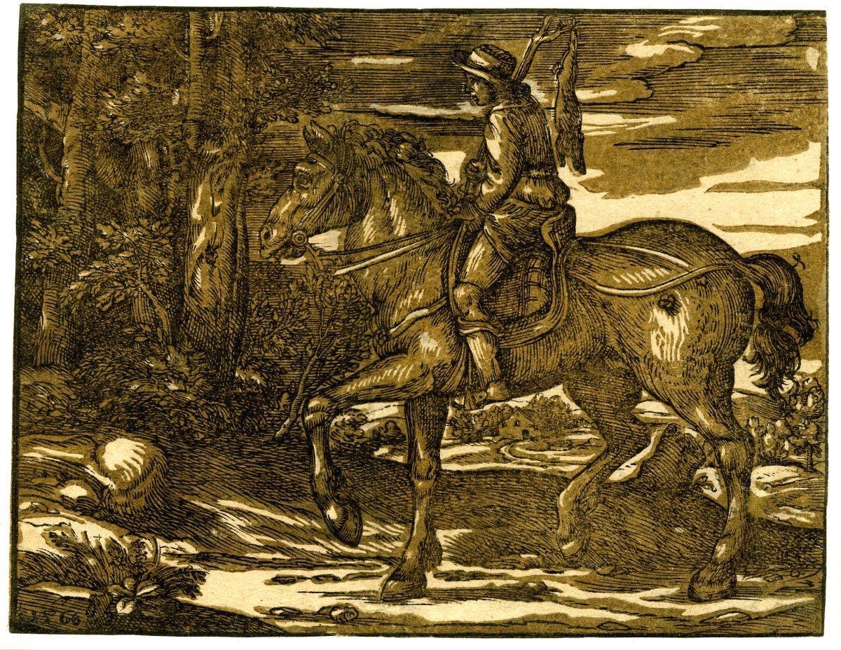 Paesaggio con cacciatore a cavallo