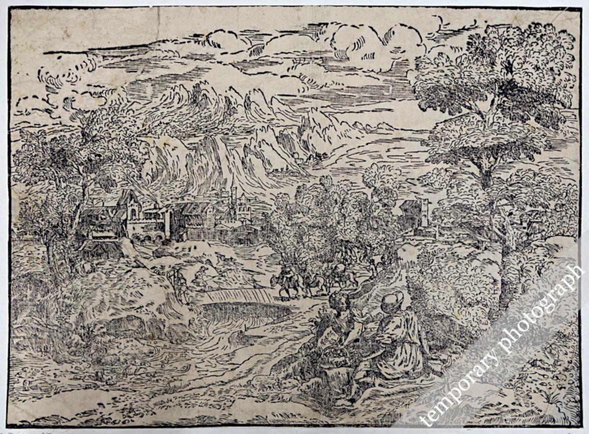 Paesaggio con un ponticello, una figura di spalle e donna con un cesto di frutta