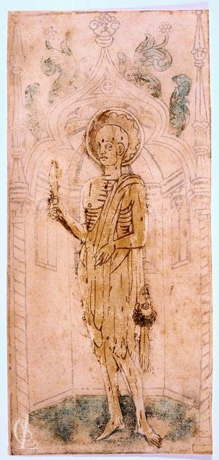 San Bartolomeo scorticato vivo con il coltello in mano