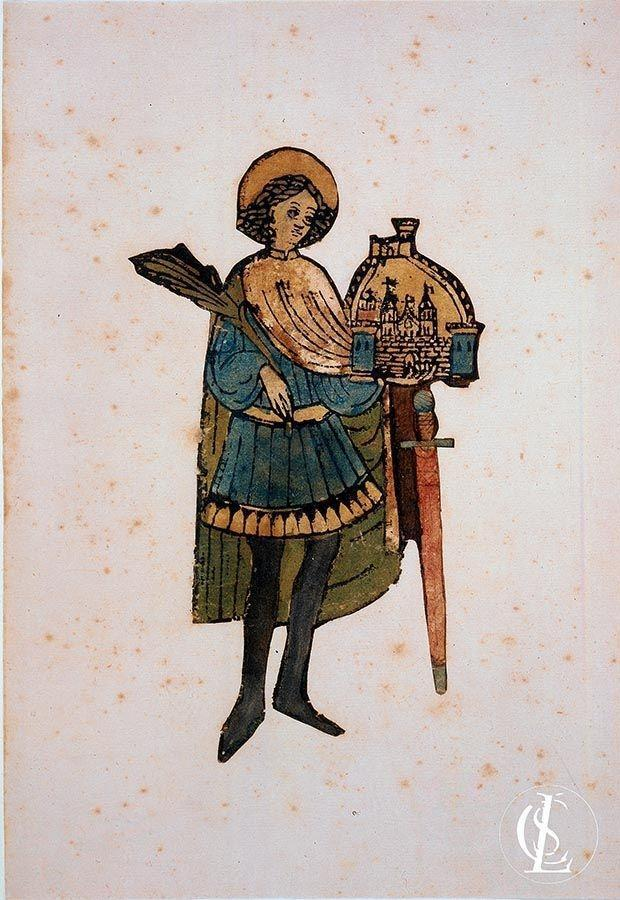 San Trifone che tiene la palma del martirio, il modello della città di Cattaro e la spada