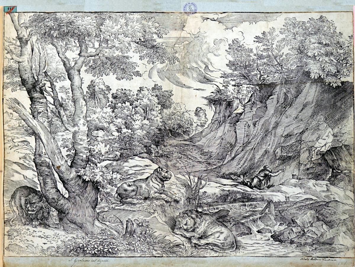 San Girolamo nel paesaggio con tre leoni