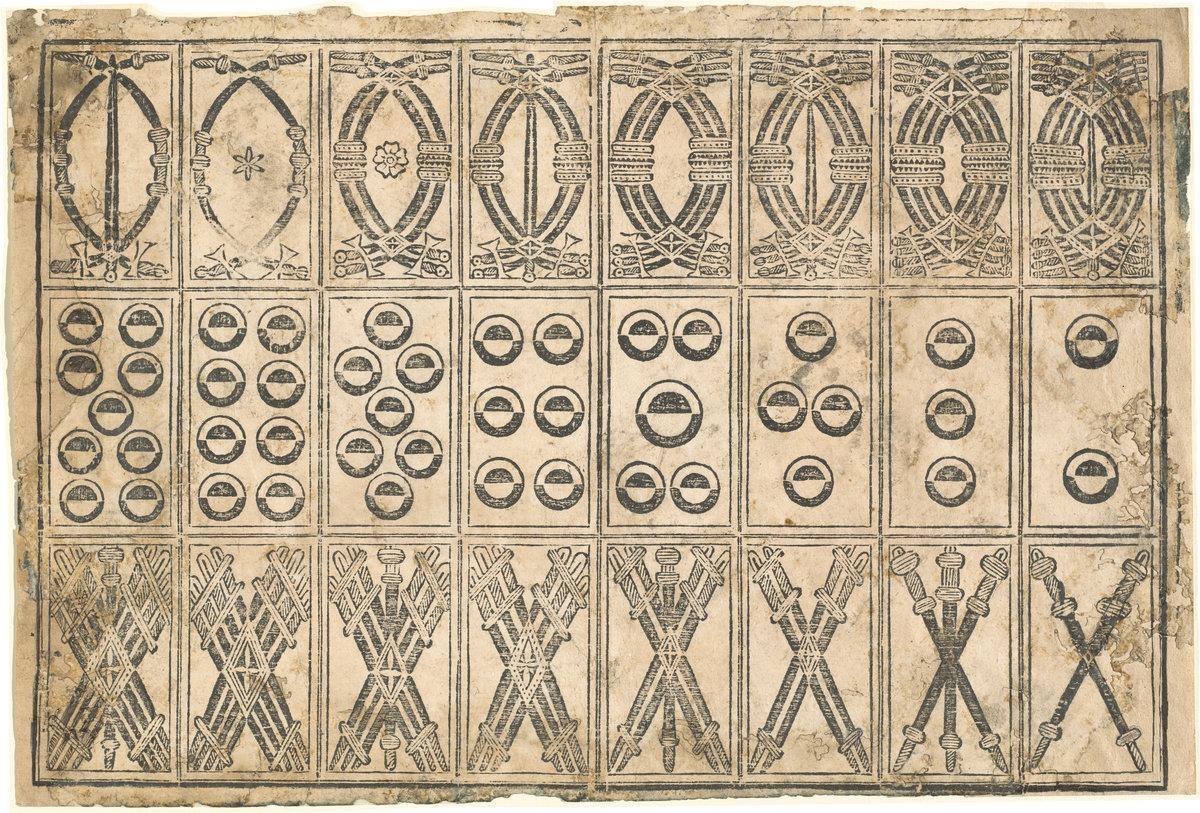 Spade: dal due al nove; Denari: dal due al nove; Bastoni: dal due al nove