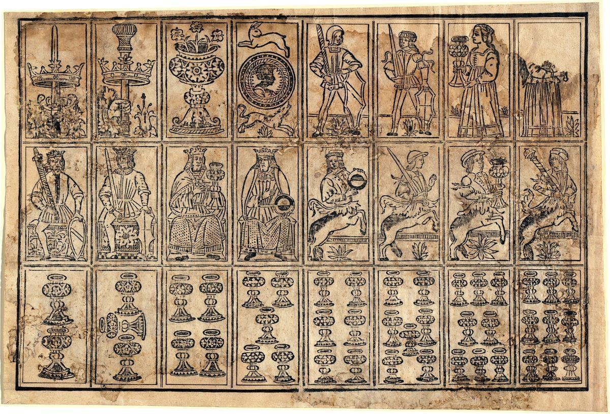 Assi dei quattro semi; fanti/ne, re e cavalieri (centauri) dei quattro semi; Coppe: dal due al nove