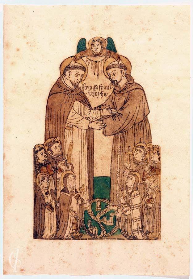 Incontro di San Francesco d'Assisi e San Domenico e santi dei due ordini inginocchiati