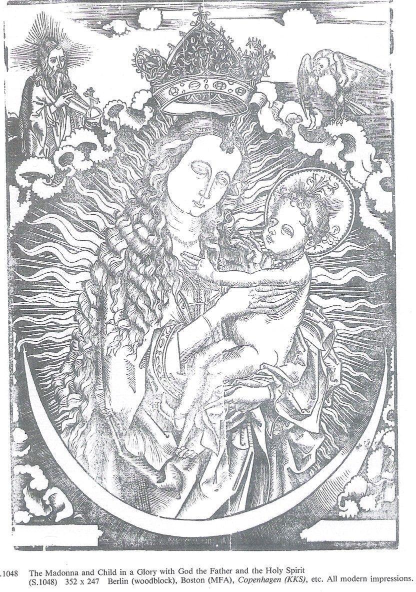 Madonna in gloria con il Bambino e orazione