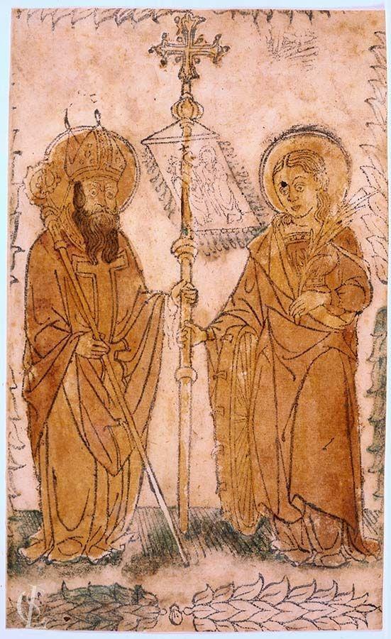 Santo vescovo (San Atanasio di Alessandria?) e Santa Caterina d'Alessandria