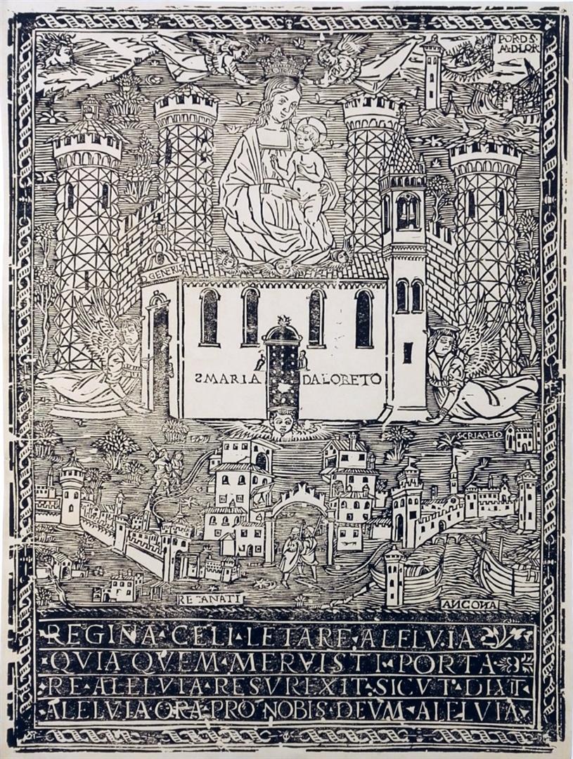 La Santa Casa di Loreto con le vedute di Recanati e Ancona e la Madonna col Bambino
