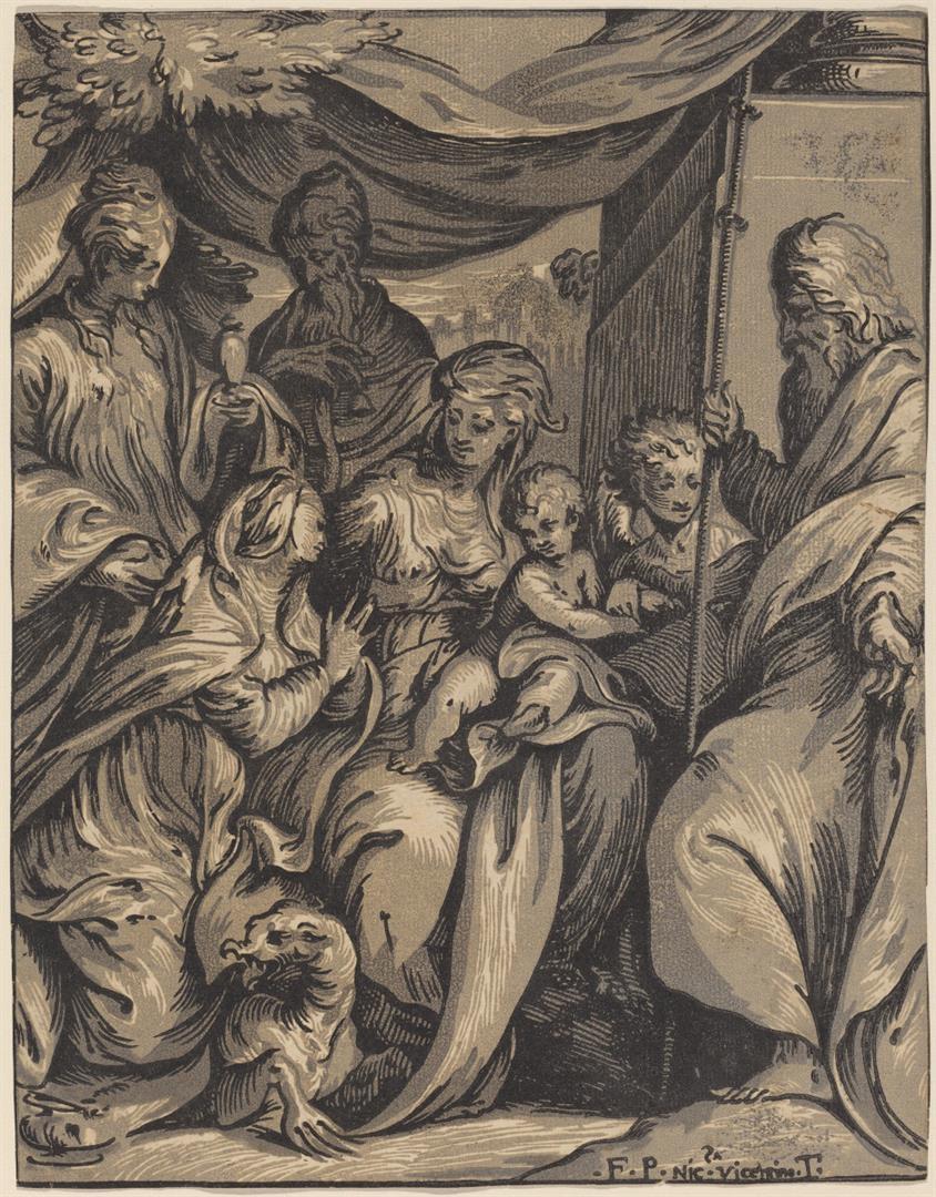 Madonna con bambino e santi Marta, Giacomo Maggiore, Antonio Abate, Maddalena e un angelo