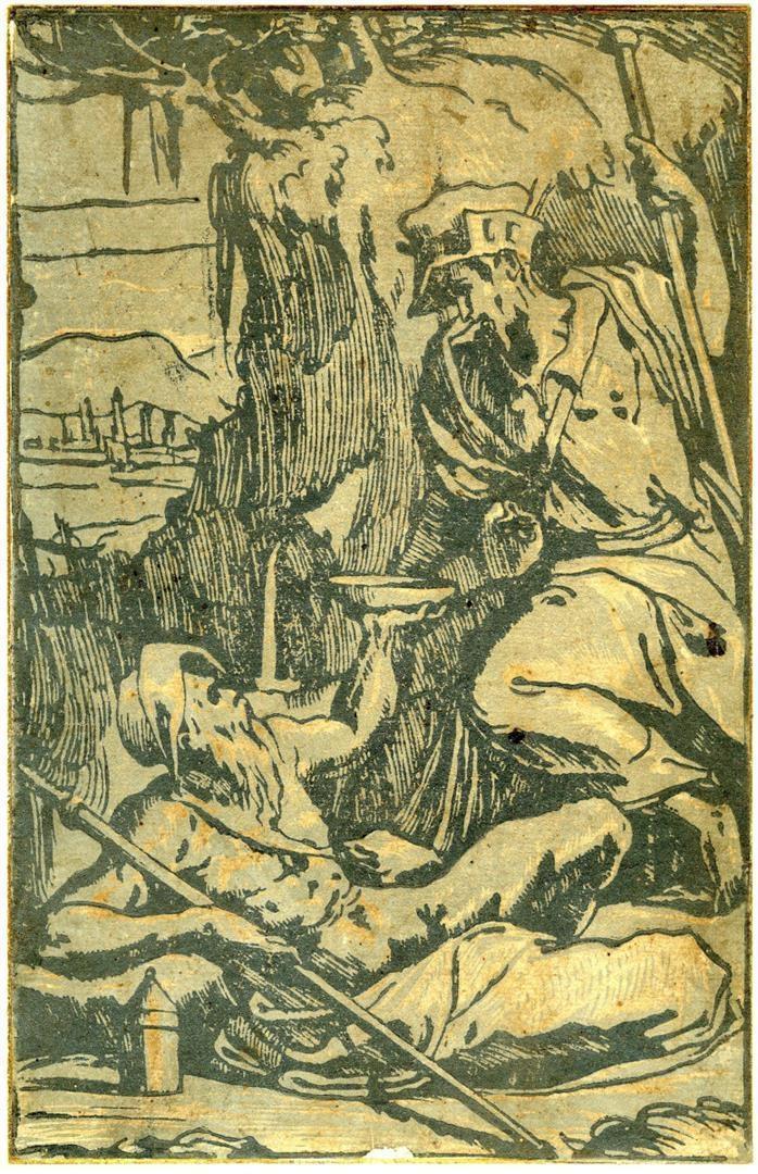 Due pellegrini ad una sorgente
