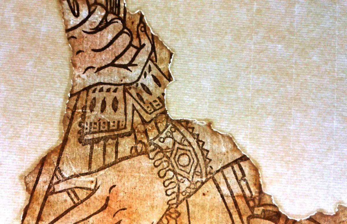 Frammento di carta decorativa con dama con ventola