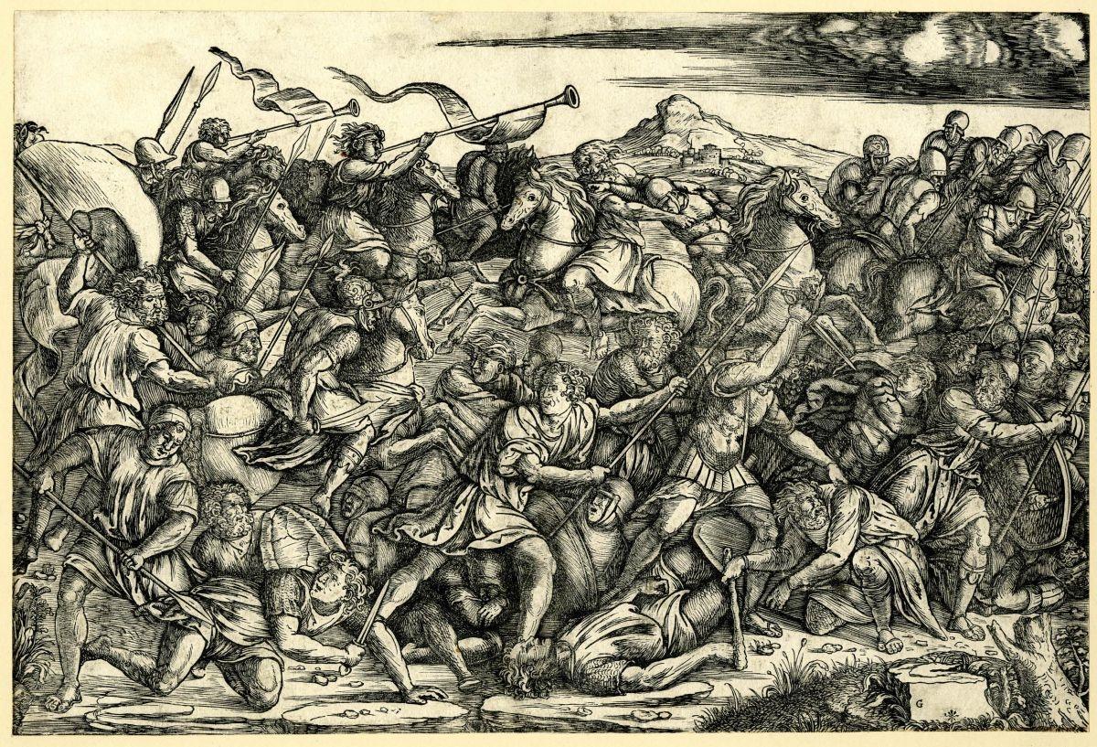 Battaglia di cavalieri e fanti