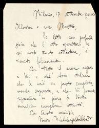 Lettera di Michelangelo Abbado a Alfredo Casella, Milano 17 settembre 1942