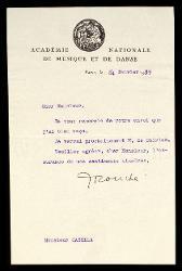Lettera di Rouché a Alfredo Casella, Parigi 24 gennaio 1939