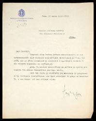 Lettera di Federzoni a Alfredo Casella, Roma 26 marzo 1940