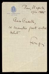 Lettera di Federzoni a Alfredo Casella, Roma 22 aprile 1940