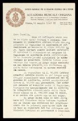 Lettera di Sandro Raselli a Alfredo Casella, Siena 16 maggio 1942