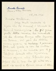 Lettera di Marcella Barzetti a Alfredo Casella, Siena 15 ottobre 1946
