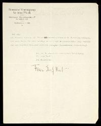 Lettera di Franz Josef Hirt a Alfredo Casella, Berna 27 agosto 1927