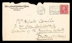 Lettera di Ernest Bloch a Alfredo Casella, Cleveland 29 novembre 1921