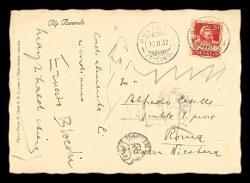 Cartolina illustrata di Ernest Bloch a Alfredo Casella, Roveredo Capriasca (Ticino) 10 febbraio 1932