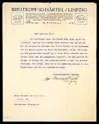 Lettera di Leipzig Breitkopf & Härtel a Alfredo Casella, Lipsia 26 febbraio 1927