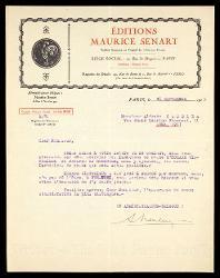 Lettera di A[lbert] Neuburger a Alfredo Casella, Parigi 26 settembre 1925