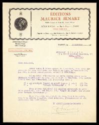 Lettera di M[aurice] Sénart a Alfredo Casella, Parigi 05 ottobre 1925