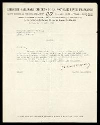 Lettera di Gaston Gallimard a Alfredo Casella, Parigi 18 agosto 1933